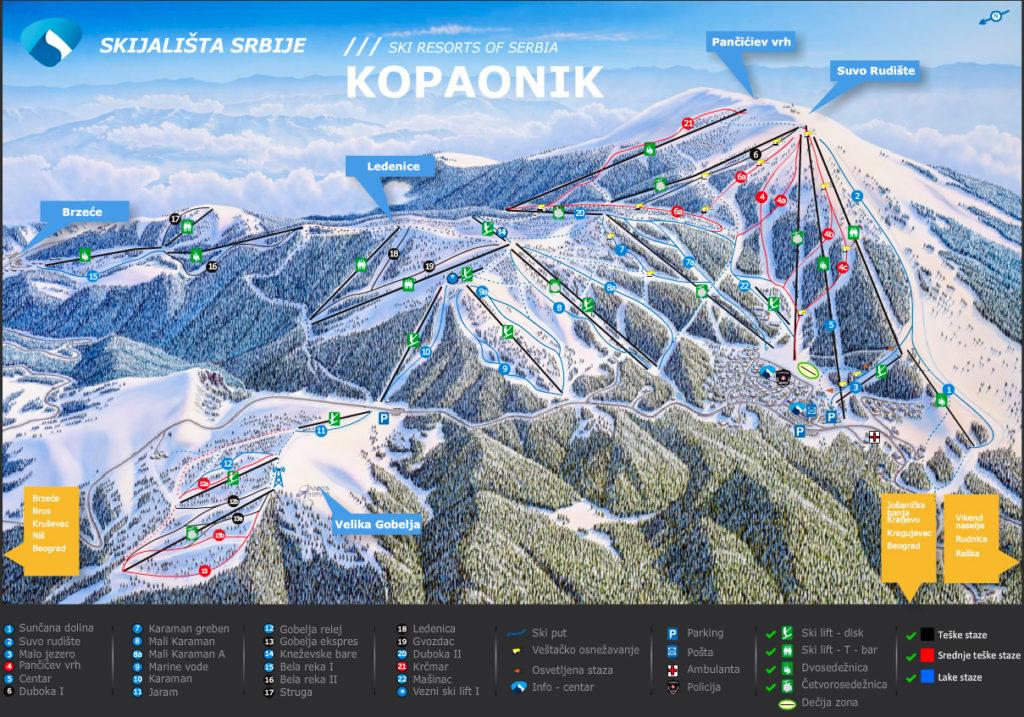 Схема курорта Копаоник